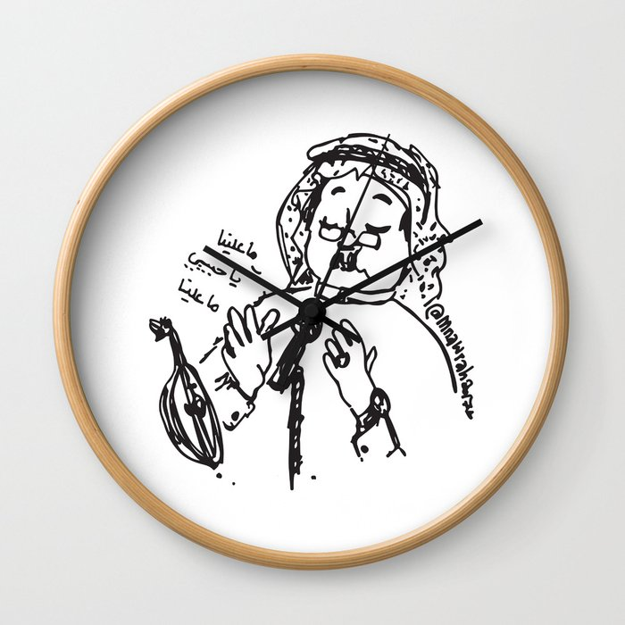 Abu Baker Salim Fan Art sketch black and white lines Oud أبوبكر سالم ما علينا Wall Clock