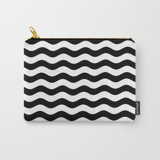 Wavy Stripes (Black/White) Carry-All Pouch
