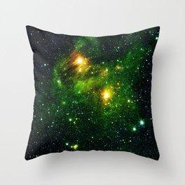 Green Galaxy Space Mist Hubble Telescope Throw Pillow