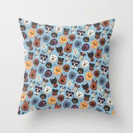 Cute Dog & Pet Owner pattern gift Throw Pillow