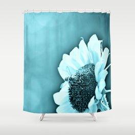 Monochromatic Bee on Sunflower Shower Curtain