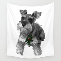 schnauzer Wall Tapestries featuring Christmas Schnauzer by RsDesigns