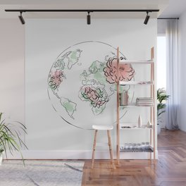 Antique World Map #Red Wall Mural