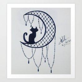 A cat on a lace moon Art Print