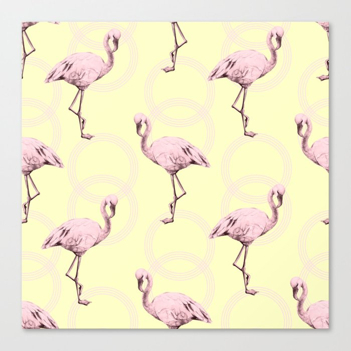 Simply Pink Flamingo Infinity Link Pale Yellow Canvas Print