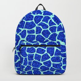 Blue Glitter Giraffe Print Backpack
