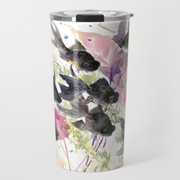 Black Moor Fish In Aquarium Travel Mug
