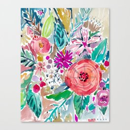 High by the Beach Painterly Floral Canvas Print