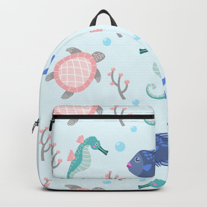Cute Seahorse, Turtle & Fish Pattern Backpack