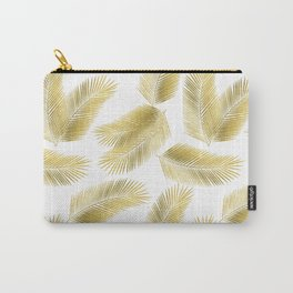Gold Tropical Palm Leaves Pattern Carry-All Pouch
