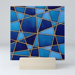Cobalt Watercolor Skewed Color Blocks Mini Art Print