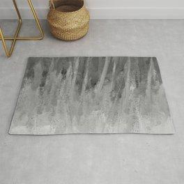 Ice Shards Black and White Rug
