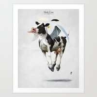 atheist Art Prints featuring Holy Cow by rob art | illustration