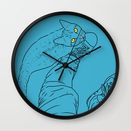 Everything I know I learned from my cat (blue) Wall Clock