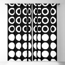 Mid Century Modern Circles And Dots Black & White Blackout Curtain