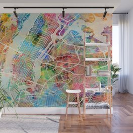 New York City Street Map Wall Mural