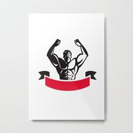 Body Builder Flexing Muscles Banner Retro Metal Print