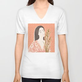 The girl in kimono Unisex V-Neck