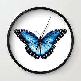 Blue Morpho Butterfly, the Menelaus blue morpho (Morpho menelaus) Butterfly, Blue Butterfly Wall Clock