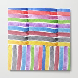 Rainbow Stripes Brush Stroke Abstract Watercolor Painting Metal Print