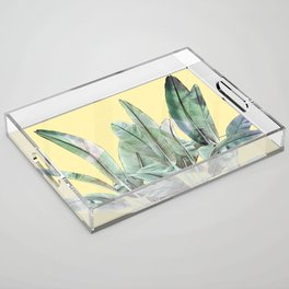Bananas Leaves in Yellow Acrylic Tray