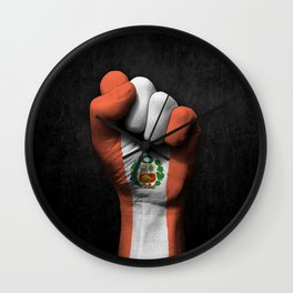 Peruvian Flag on a Raised Clenched Fist Wall Clock