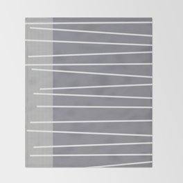 Mid century modern textured gray stripes Throw Blanket