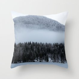 Fog rolling over spruce forest Throw Pillow