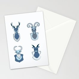 goat and dear heads Stationery Cards