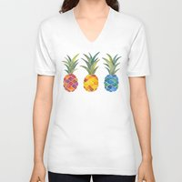 pineapples V-neck T-shirts featuring Pineapples by Cat Coquillette