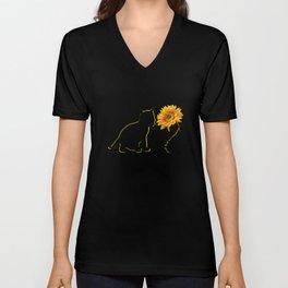Cat Sunflower Cats Lover Gift Idea Unisex V-Neck