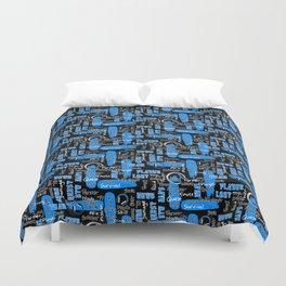 Gamer Lingo-Black and Blue Duvet Cover