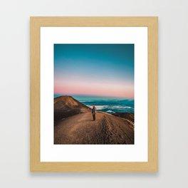 Pastel glow in the sunrise sky Framed Art Print