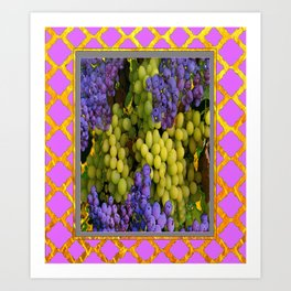 Pink Pattern Decorative Purple-Green  Grapes Art  Art Print