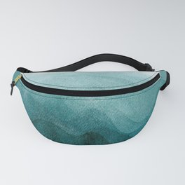 Sunrise in the mountains, dawn, teal, abstract watercolor Fanny Pack