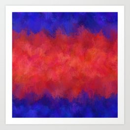 Red Pink Blue Color Explosion Abstract Art Print