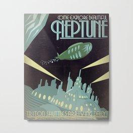 Retro Neptune Travel Poster Metal Print