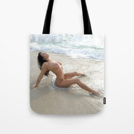 0061-SS Beautiful Naked Woman Nude Beach Sand Surf Big Breasts Long Black Hair Sexy Erotic Art Tote Bag