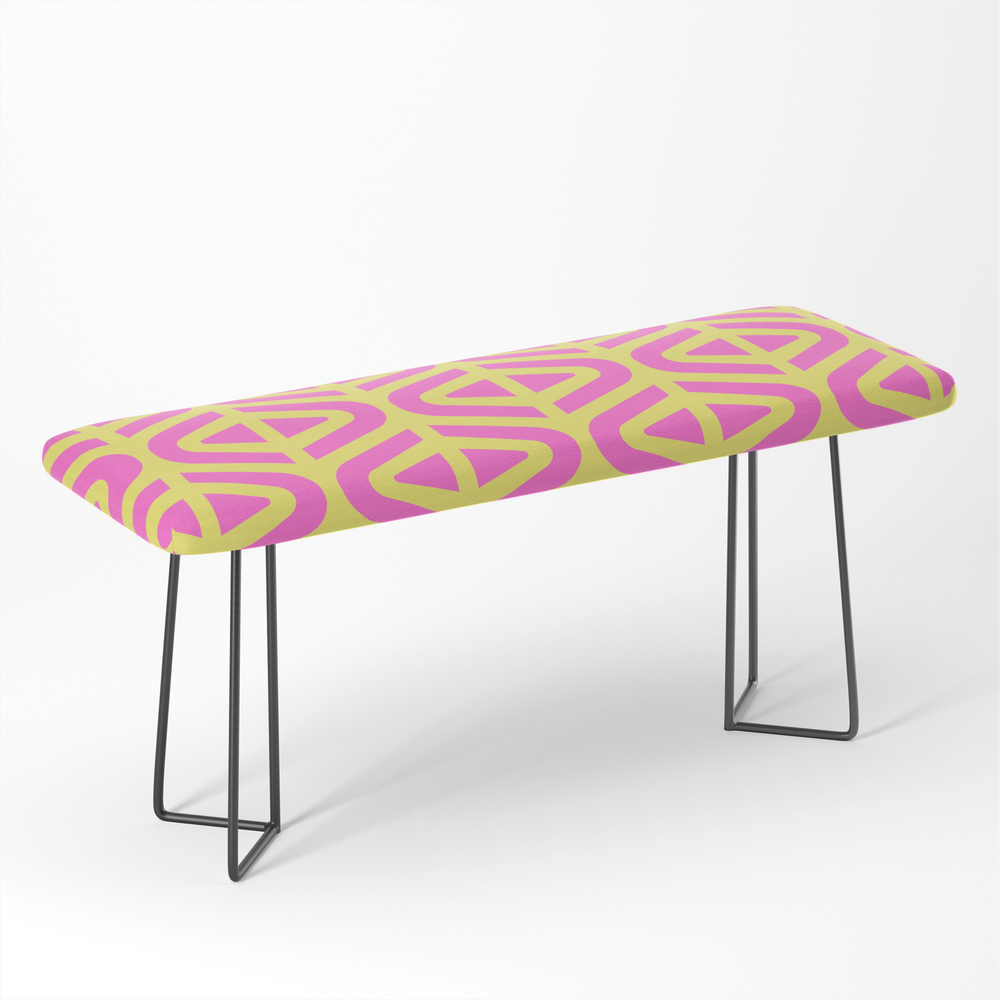 Mid_Century_Modern_Split_Triangle_Pattern_Pink_and_Yellow_Bench_by_tonymagner