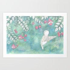Hummingbird's Garden: In the fuschias Art Print