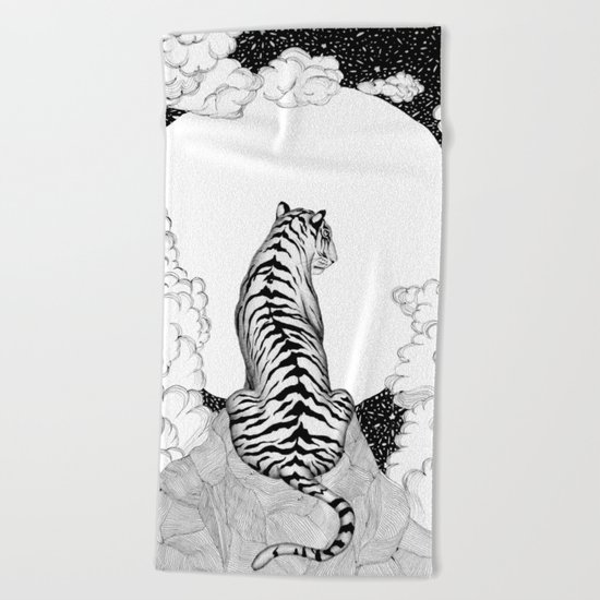 Tiger Moon Beach Towel