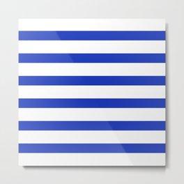 Blue Persian Stripes on White Background Metal Print