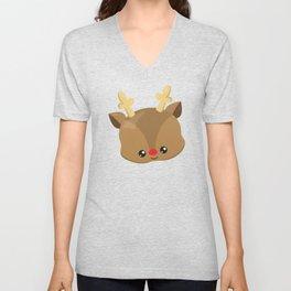 Cute Reindeer, Antlers, Reindeer With Red Nose Unisex V-Neck