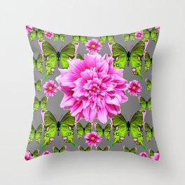 GREEN BUTTERFLIES & DOUBLE PINK FLOWERS ON GREY ART Throw Pillow