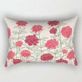 Red Floral Peonies Pattern Rectangular Pillow