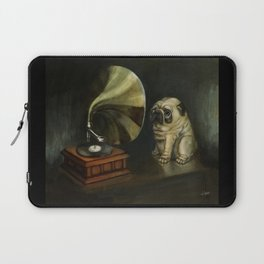 Pug and His Master´s Voice Laptop Sleeve