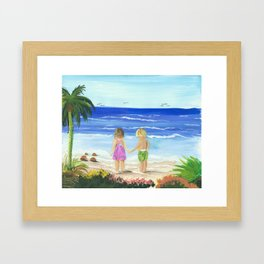 Children by the sea Framed Art Print