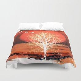 Sun in red Duvet Cover
