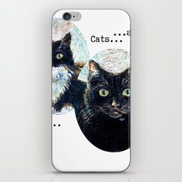 Two Black and White Cats in Oil Pastel iPhone Skin