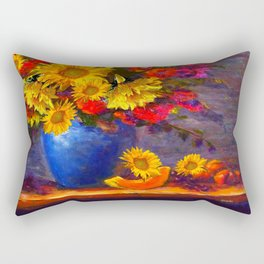 Awesome Blue Vase Fruit & Sunflowers Still Life Rectangular Pillow